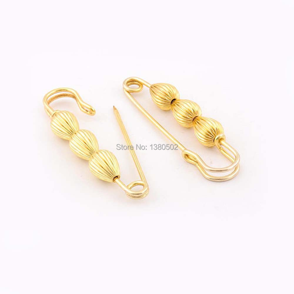 5pcs/lot 76*15mm top grade gold color metal Safety Pins for earring Brooch pins Decoration