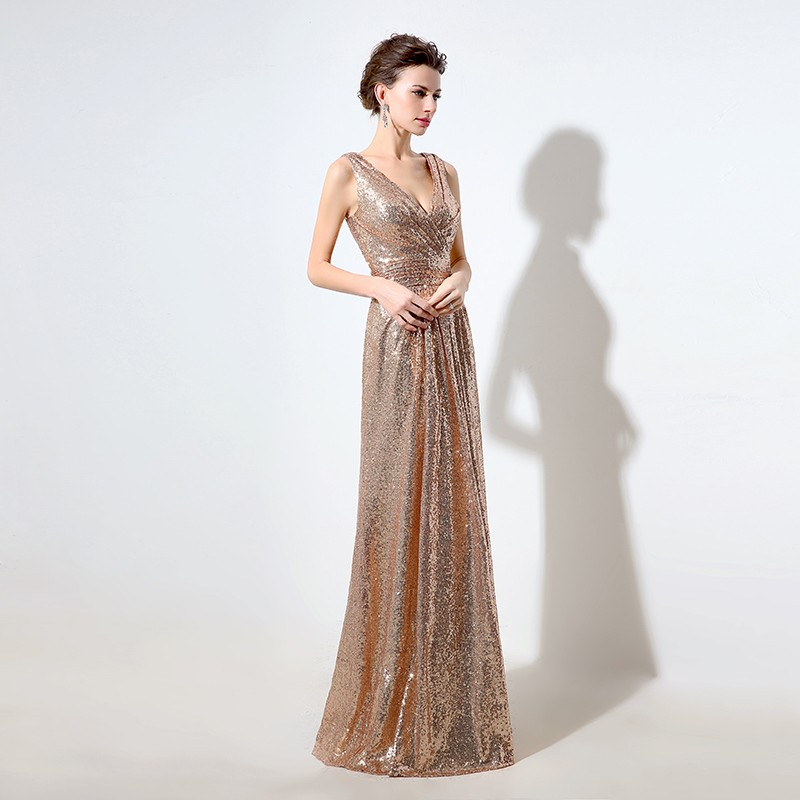 Gold Sequin Deep V-neck Sparkly V Back Long Bridesmaid Dress