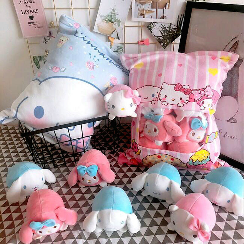 4pcs Small plush Pink Kitty cat & Melody rabbit toy in a bag Pillow Stuffed cushion Creative Birthday gift toys for baby girl big lovey plush pink rabbit toy stuffed smile rabbit pillow birthday gift about 110cm