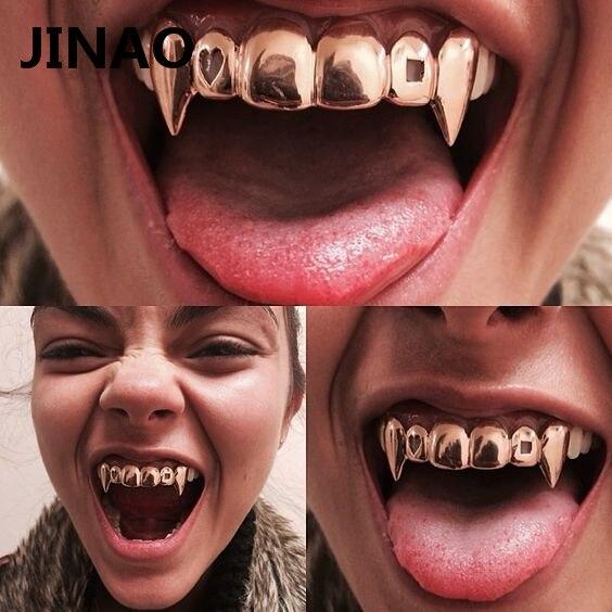 JINAO Gold Color plateado Hip Hop dientes Grill Caps Hollow Heart Square Top & Bottom vampire Teeth Grillz Set para fiesta de Halloween
