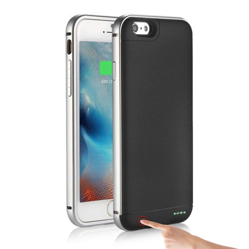 """bilder für Super Slim Ladegerät Fall Für iPhone 7 4,7 """"Anti fingerabdrücke Ultra Slim Legierung Rahmen Bewegliche Energienbank Lade Fall"""