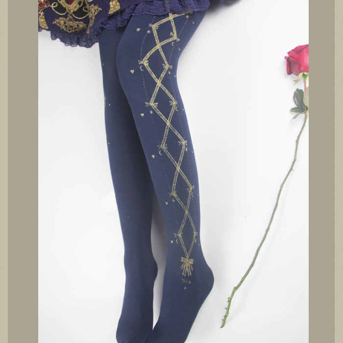 94e6b810e2b Concerto of Ribbon ~ Patterned Thick Winter 300D Tights Sweet Lolita  Pantyhose by Yidhra