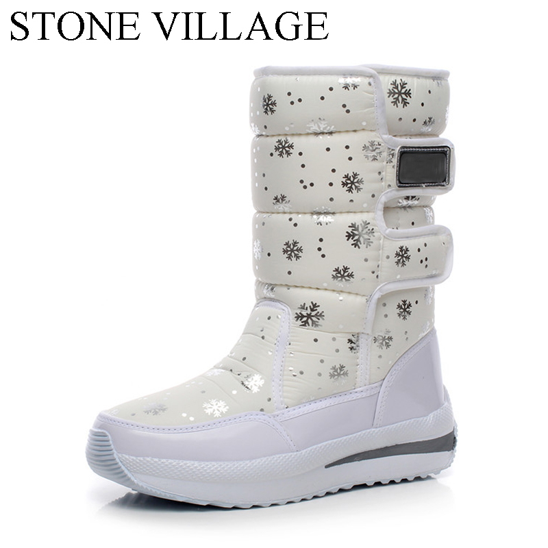 STONE VILLAGE Winter Wedge Snow Boots Warm Shoes Women