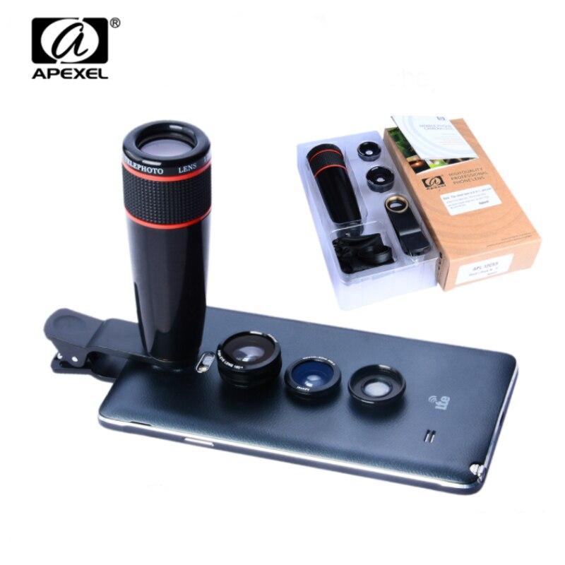 APEXEL 4 in 1 universal clip camera Lens Kit 12X Telephoto Lens+ Wide Angle& Macro+ Fisheye Lens for iPhone Samsung Xiaomi Phone