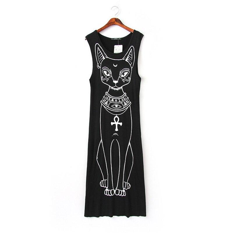 С изображением котенка летнее платье Для женщин без рукавов Длинные О-образным вырезом Черный Макси платье хлопковые эластичные Платья для...