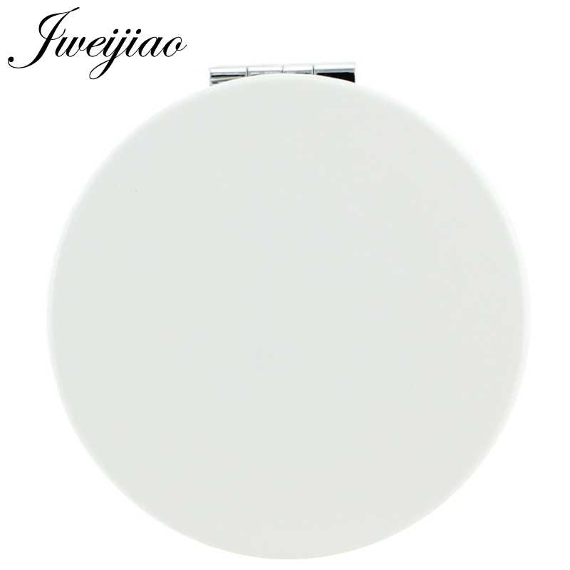 JWEIJIAO Personalized Custom Photo Round Folding Pocket Mirror White PU Leather Compact Portable Makeup Mirror Cosmetic Tools