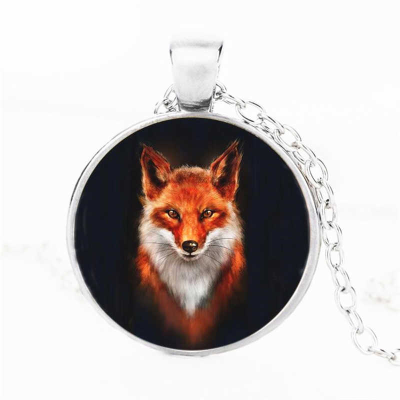 2018 Free Shipping Fashion Pop Fox Crystal Pendant Sweater Chain Necklace