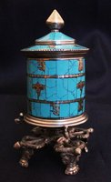 TBC857 Tibetan brass big prayer wheel,5'' inlaid colorful stone,buddhist decos art,low MOQ