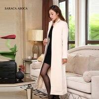 Jesień i Zima Moda Szczupła kobiet Białe Płaszcze Zimowe Długi Płaszcz Nowy Projekt Ciepłe X-long Oversize Imitacja kaszmiru