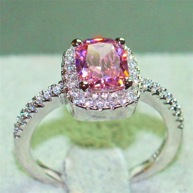 Real 100% 925 Sterling Silver Wedding Rings for Women Princess-cut 5a CZ Engagement Ring Simulated Diamond Platinum Jewelry