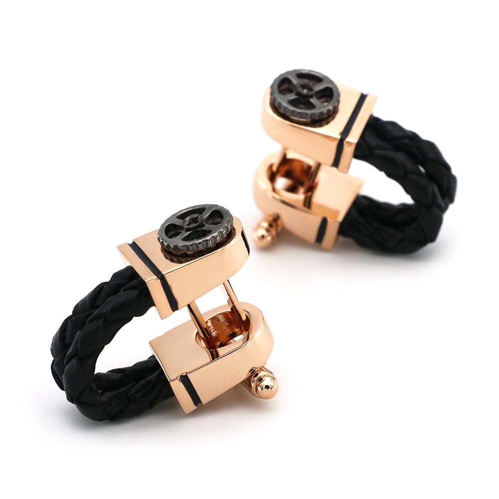 Men's Luxury Cufflinks Rose Gold Plating Black Leather Chain Design With Vintage Gear Quality Business Cuff Links