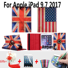Para Apple iPad 9.7 2017 Caso de Cuero de LA PU de La Bandera 360 de Rotación Caso de la tableta Para el Nuevo ipad 9.7 2017 Cubierta con Soporte de pie