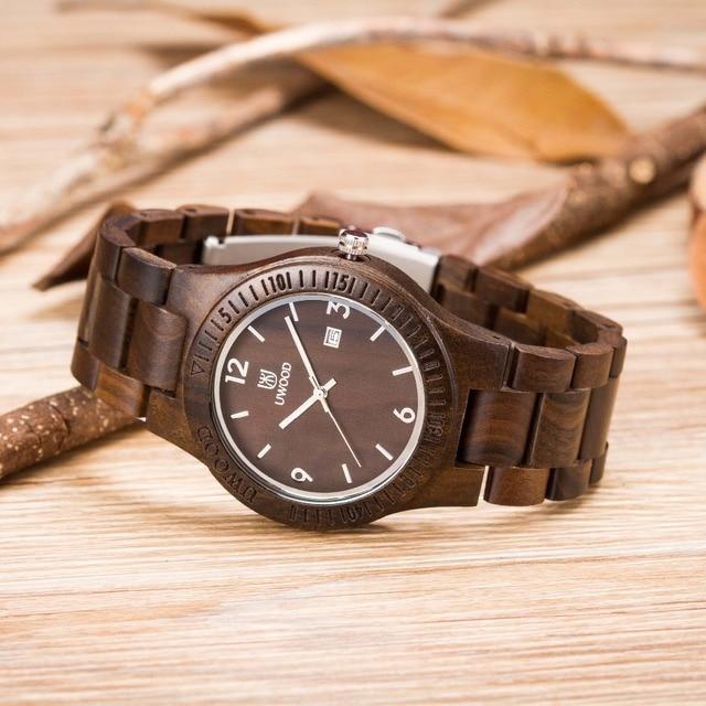 bde7cc48e6d Eco De Madeira da Sandália Saúde Relógios Uwood Marca Assista Japão Quartz  Relógio de Pulso Para