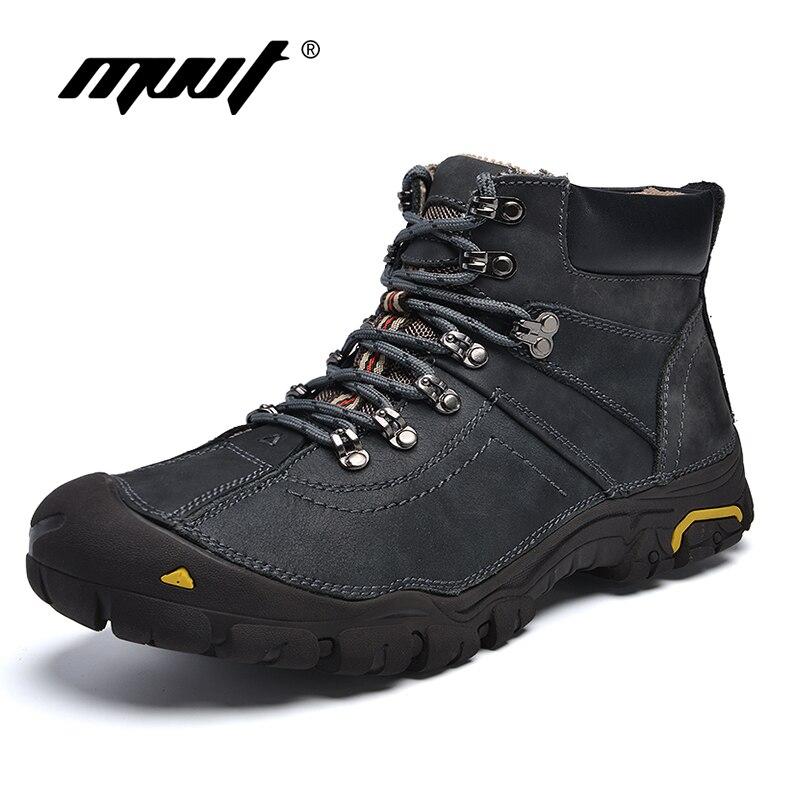 MVVT Waterproof Men font b Boots b font Warm Genuine Leather font b Snow b font