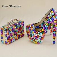 MulticoLove моменты lored Роскошная обувь с украшением в виде кристаллов Свадебные туфли и сумки женские вечерняя Обувь на тонком каблуке Высокий к