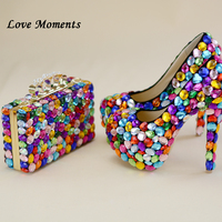 MulticoLove moments lored Luxury Crystal wedding shoes and bags womens thin heel party shoes High heel platform shoes woman