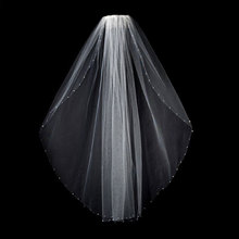 Белая Фата для невесты цвета слоновой кости, с бусинами, кристальная свадебная фата для невесты, 1 ярус с расческой
