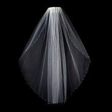 Véu de noiva branco marfim, contas de cristal, véu de noiva de casamento, 1 tier com pente