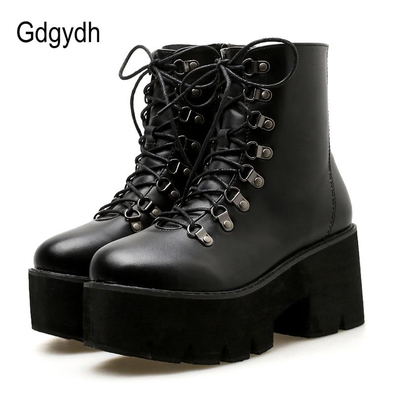 f603e27027a9c5 Gdgydh 2018 Ankle Boots Women Lace Up Autumn Platform Heels Shoes Black  Rubber Sole Platform Booties Shoes Size 40 Good Quality