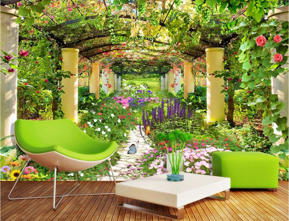 buy custom photo non woven mural 3d wallpapers for living room flower garden. Black Bedroom Furniture Sets. Home Design Ideas