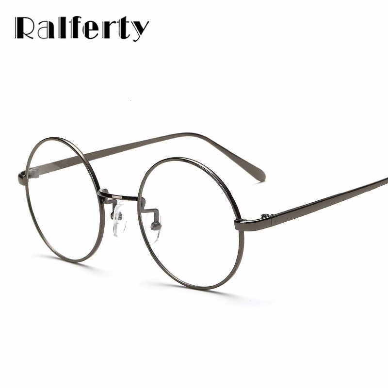 8193a601c5 ... Ralferty Oversized Korean Round Glasses Frame Clear Lens Women Men  Retro Gold Eyeglass Optic Frame Eyewear ...