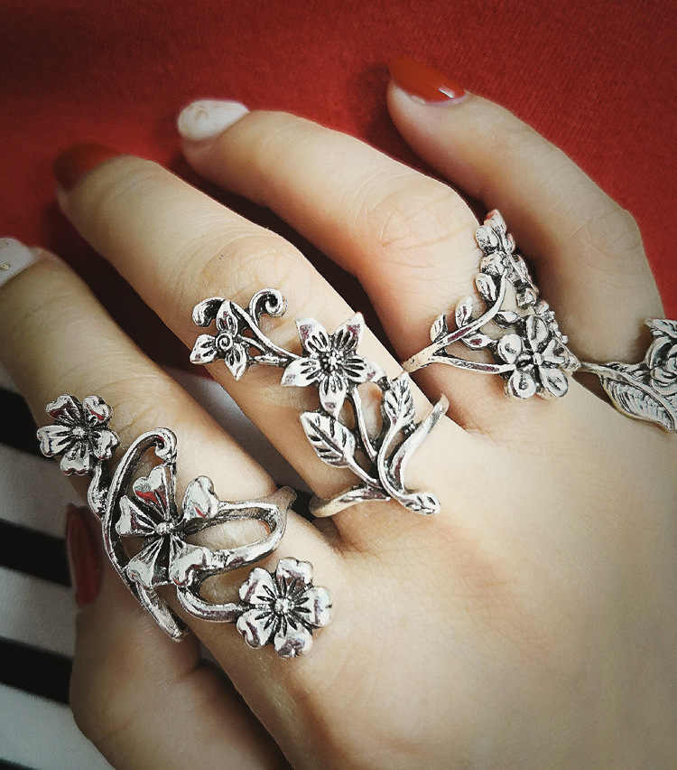 1 Set Hollow Out Carving Unique Ring Set Punk Style Gold Color Knuckle Rings For Women Finger Knuckle Rings Ring Set