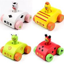Baby wooden sounding cartoon car toys pull back animal make sounds vehicle car toys for kids