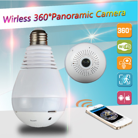 360 degree Wireless IP Camera Bulb Light FishEye 3D VR Camera 1.3MP Home Security WiFi Camera Panoramic camera free shipping image