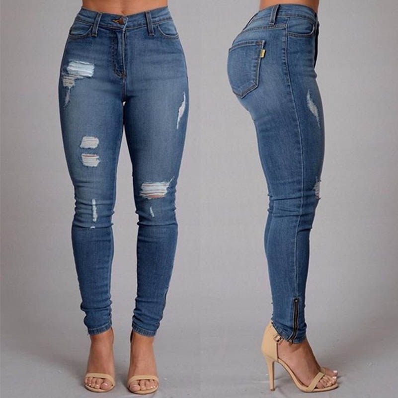 b8bb42ea8a NiceMix 2016 Casual Ripped Jeans For Women Skinny Pencil Pants Blue Slim  Jeans Woman Denim Jeans Femme Calca Feminina