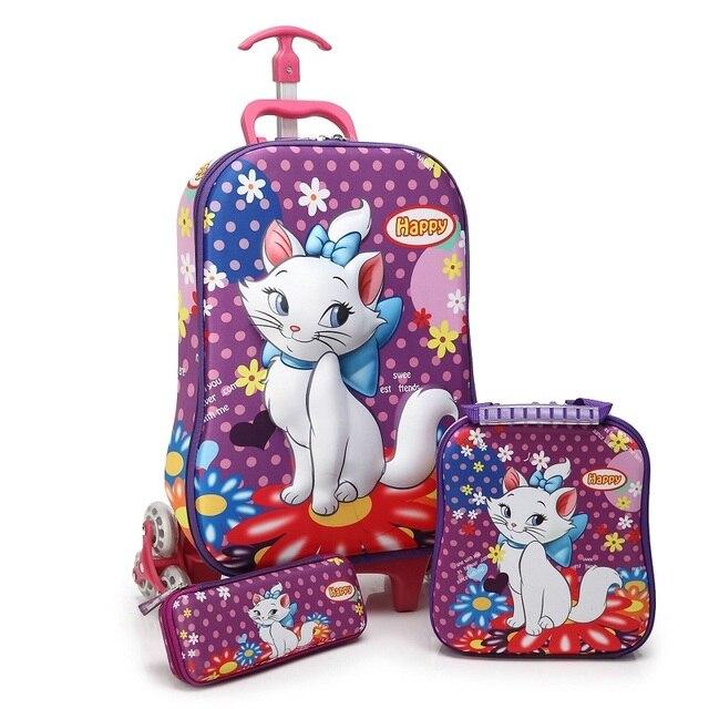 Quente gato Dos Desenhos Animados 3D boy anime trolley crianças Subir Vestuário as escadas bagagem rolando mala de viagem menina dos desenhos animados Puxar haste schoolbag