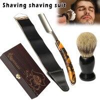 4Pcs/Set Men Shaver Kit Folding Straight Razors Shaving Brush with Wooden Box H7JP