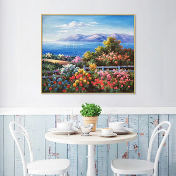 Original Mediterranean landscape on canvas flower art oil painting texture mountain Wall Art picture for living room quadros