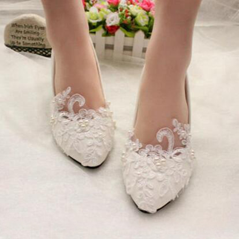цена на Handmade White Lace Pearls Women Wedding Shoes Custom Heel Sexy Slip ON Bridal Shoes Pointed Toes Big Size