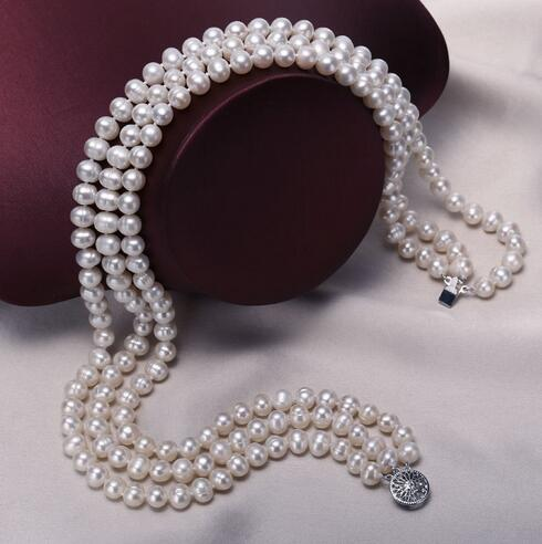 цены Selling Jewelry>>> 6 - 7mm natural pearl necklace 3 strands round white freshwater pearl necklace 11.11 gaga transaction