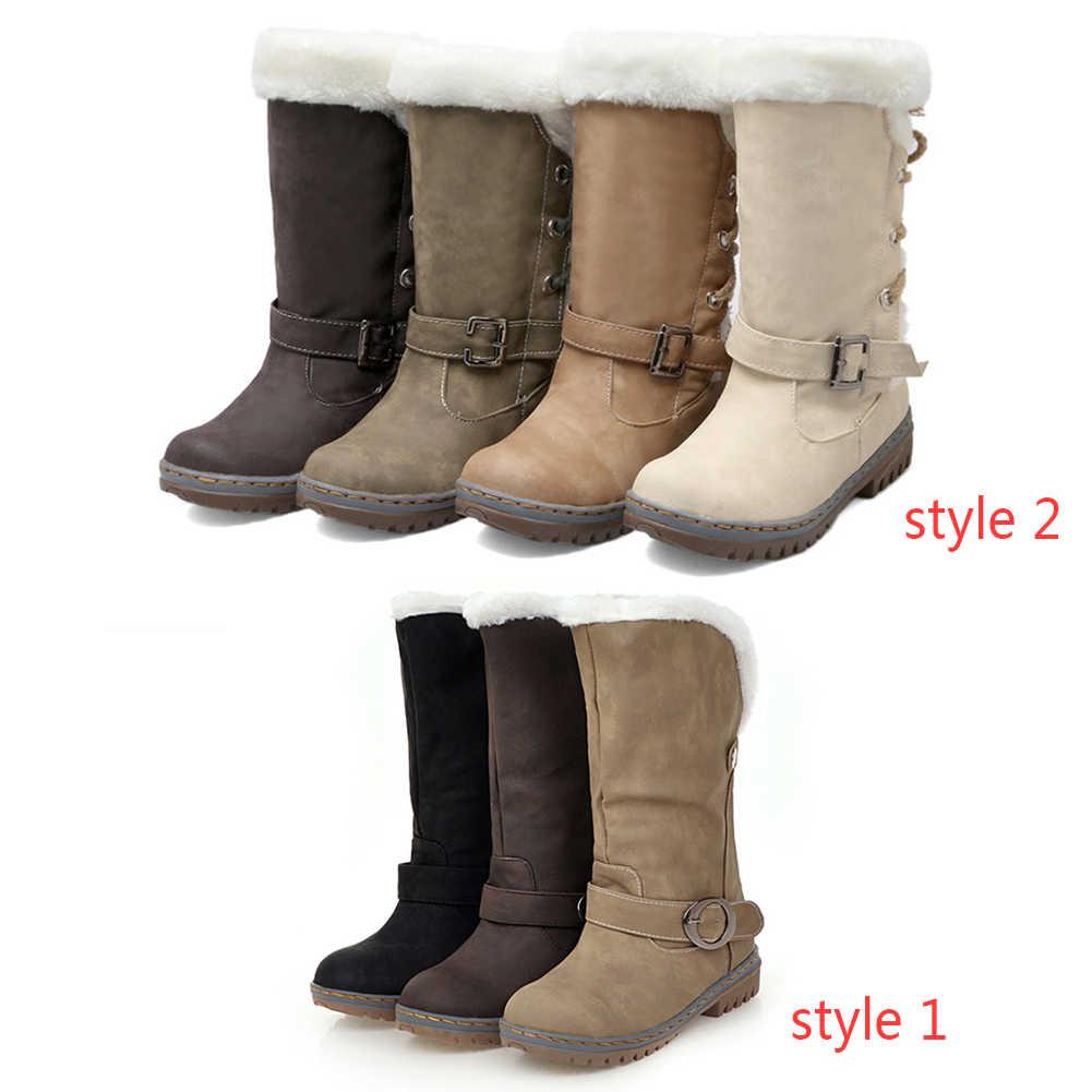 BONJOMARISA Artı Boyutu 34-46 Kadın Orta Buzağı Çizmeler Kış sıcak Kürk Ayakkabı Kadın Kemer Kayışı Toka Düz platform Snow Boots