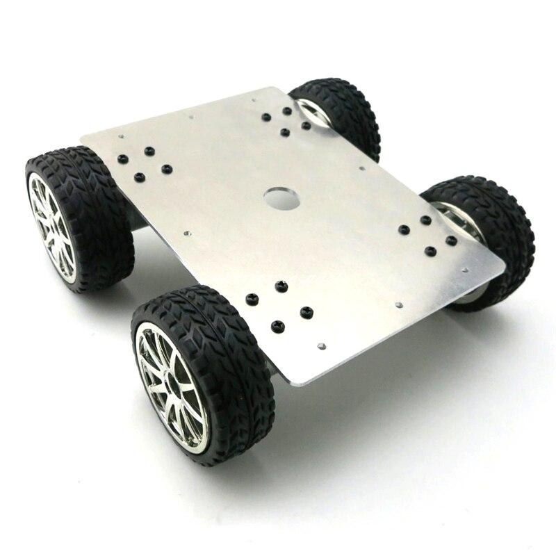 Alliage d'aluminium 4WD voiture Robot de suivi voiture intelligente 4 roues motrices châssis avec 4 pièces 25 Type de roue de moteur à engrenages diamètre 65mm