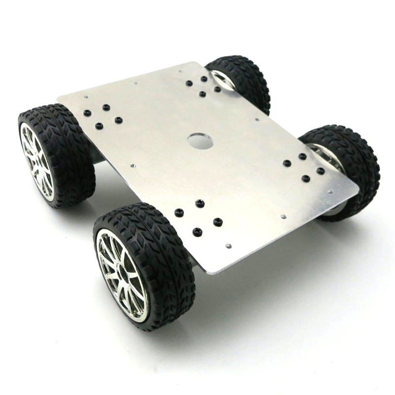 Aluminum Alloy 4WD Car Tracking Robot Smart Car 4 Wheel Drive Chassis with 4pcs 25 Type Gear Motor Wheel Diameter 65mm 25 type aluminum alloy wheel drive car