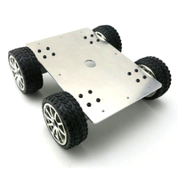 Aluminum Alloy 4WD Car Tracking Robot Smart 4 Wheel Drive Chassis with 4pcs 25 Type Gear Motor Diameter 65mm