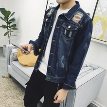 Fashion 2017 Spring Autumn Casual Denim Single Breasted Cardigan Thicken keep warm man Ripped Hole loose jacket Men Coat
