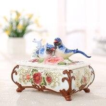 Creative bird lovers ceramic candy jar jewelry storage box home decor handicraft porcelain figurines wedding decorations
