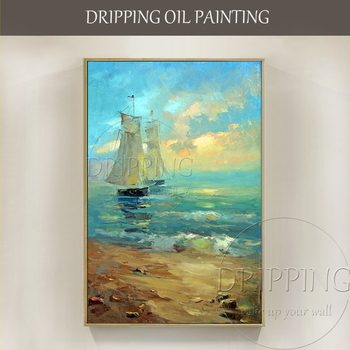 Unique Gift Artist Hand-painted High Quality Seascape Abstract Boat and Sea Oil Painting for Friend Handmade Canvas Oil Painting