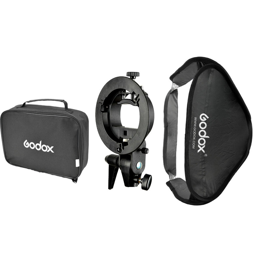 GODOX Floading Adjustable Godox 60 x 60cm Flash Softbox Kit with S-Type Bracket Bowen Mount Holder For Camera Photo Studio godox ad360 camera outdoor shooting flash kit ad 360 360w flash ft 16 wireless trigger ad s17 diffuser 60 60cm softbox