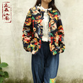 2015 Ретро осень и зимняя куртка моды череп женщины зимнее пальто хлопка мягкой одежды