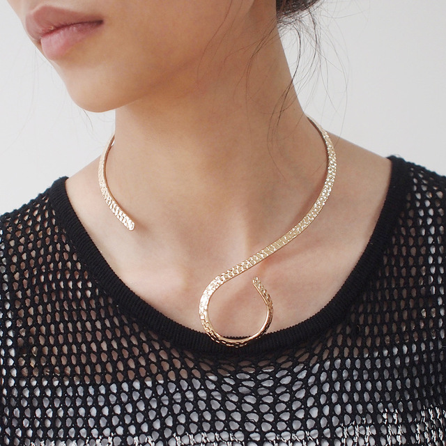 UKMOC Punk Metal Torques Chokers Necklaces For Women Fashion Jewelry Neck Collar