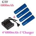 18650 Bateria 3.7 V 6800 mAh 4 pçs/set Recarregável Li-ion Battery com Carregador Inteligente Universal para Lanterna Led GTF 16340 bateria