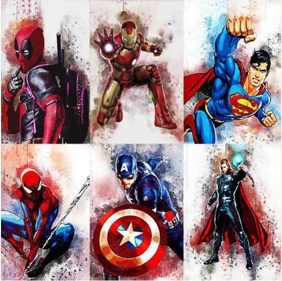 Elmas Mozaik 5d Diy Elmas Boyama örümcek Adam Kaptan Amerika