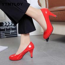 Новые женские туфли-лодочки модные классические туфли из лакированной кожи на высоком каблуке свадебные туфли на платформе с острым носком; большие размеры 34-42