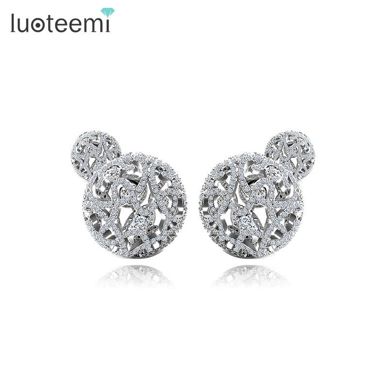 LUOTEEMI Brand New Design Fashion Jewelry Double Side Stud Earrings for Women Micro Shiing CZ Ball Elegant Brincos Free Shipping