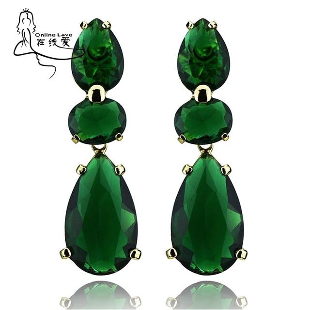 Nieuwe Collectie Elegante Groene Kristallen Oorbellen Geel Metal