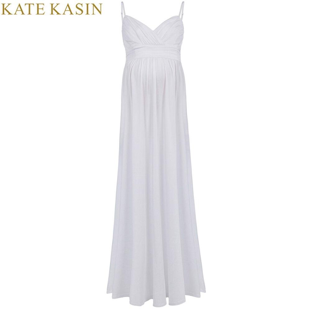 Kate Kasin 2017 сексуальное летнее платье для беременных на бретельках без рукавов, однотонное, черное, белое, Длинное Макси платье для беременных ...